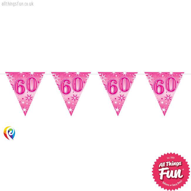 Pioneer Balloon Company Flag Banner - Age 60 Pink Sparkle