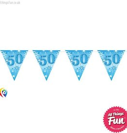 Pioneer Balloon Company Flag Banner - Age 50 Blue Sparkle