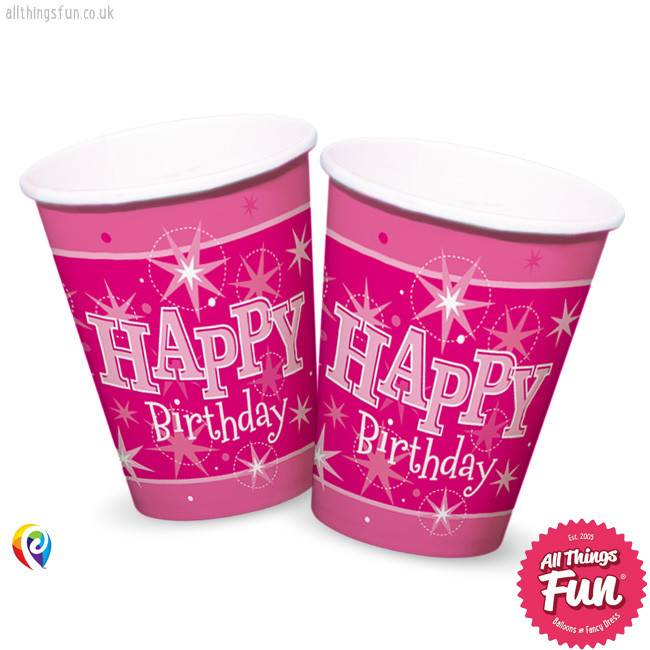 Pioneer Balloon Company Cups - Happy Birthday Pink Sparkle