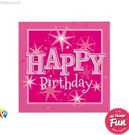 Pioneer Balloon Company Napkins - Happy Birthday Pink Sparkle