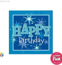 Pioneer Balloon Company Napkins - Happy Birthday Blue Sparkle