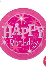 Pioneer Balloon Company Plates - Happy Birthday Sparkle Pink