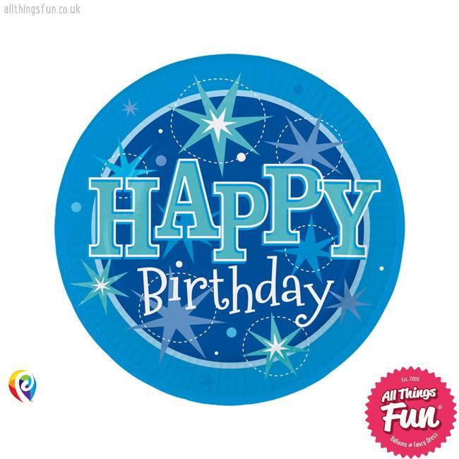 Pioneer Balloon Company Plates - Happy Birthday Blue Sparkle