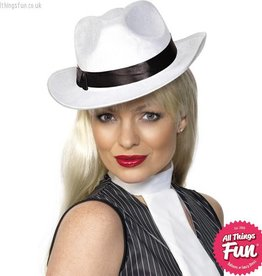 Smiffys White Gangster Hat with Band