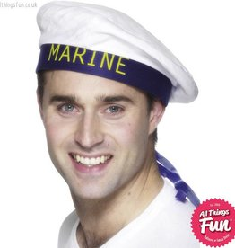 Smiffys Marine White Sailors Hat with Ribbons
