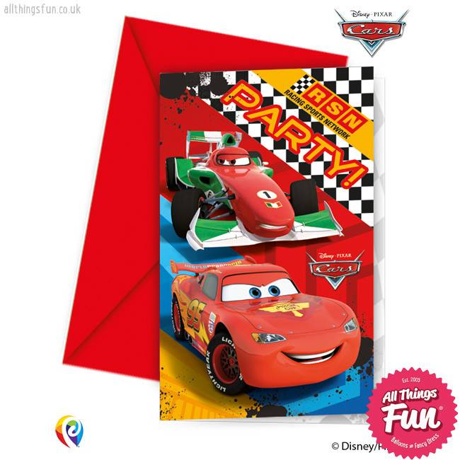 Procos Disney Cars - Invitations & Envelopes 6Ct