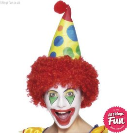 Smiffys Red Clown Hat with Wig