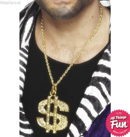 Smiffys Gold Dollar Sign Medallion on a Chain