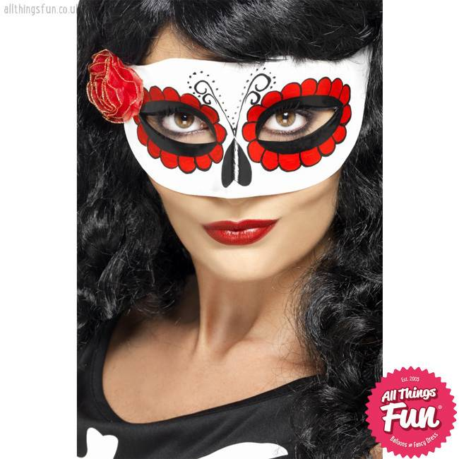 Smiffys Mexican Day Of The Dead White u0026 Red Eyemask with Rose  sc 1 st  Things Fun - Balloons u0026 Fancy Dress - Peterlee & Smiffys Mexican Day Of The Dead White u0026 Red Eyemask with Rose - All ...