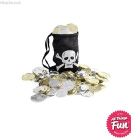 Smiffys Pirate Black Coin Bag with Coins