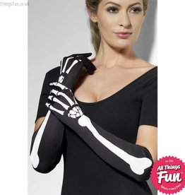Smiffys Black Long Skeleton Gloves
