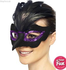 Smiffys *DISC* Gothic Raven Masquerade Black Eyemask with Feathers