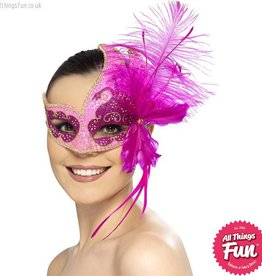 Smiffys Masquerade Carnival Pink Angel Eyemask with Feathers