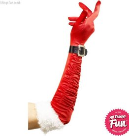 Smiffys Long Red Santa Gloves with Belt