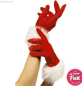 Smiffys Red Santa Gloves