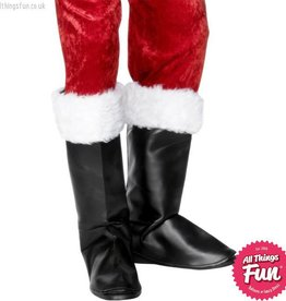 Smiffys *SP* Black Santa Boot Covers with Fur
