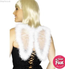 Smiffys Mini White Glitter Wings with Marabou