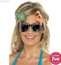 Smiffys Hawaiian Black Glasses with Flamingo & Palm Tree
