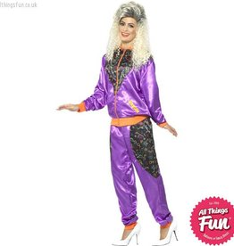 Smiffys Ladies Purple Retro Shell Suit