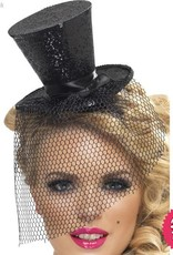 Smiffys *SP* Fever Black Glitter Mini Top Hat on a Headband