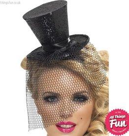 Smiffys Fever Black Glitter Mini Top Hat on a Headband