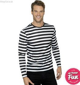 Smiffys Black Stripy T-Shirt with Long Sleeves