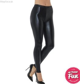 Smiffys 80's Black Metallic Disco Leggings
