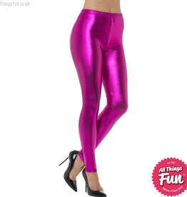 Smiffys 80's Pink Metallic Disco Leggings
