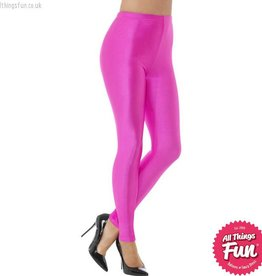 Smiffys 80's Neon Pink Disco Spandex Leggings