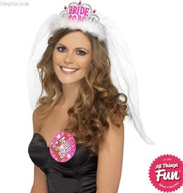 Smiffys White Bride to Be Tiara with Veil