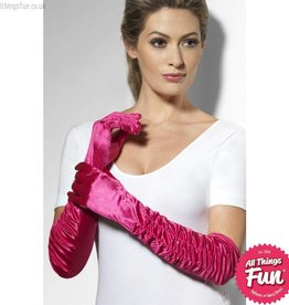Smiffys Long Fuchsia Temptress Gloves