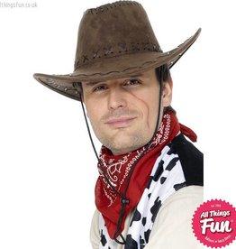Smiffys Suede Look Brown Cowboy Hat