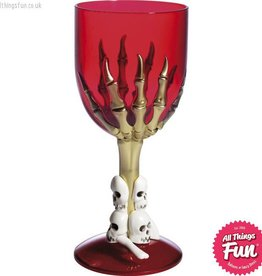 Smiffys Gothic Red Wine Glass with Skeleton Hand & Stem