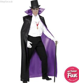 Smiffys *SP* Black & Purple Reversible Count Cape with Large Collar