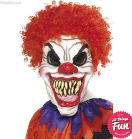 Smiffys White Scary Clown Foam Latex Mask with Red Wig