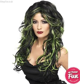 Smiffys *DISC* Gothic Black & Green Bride Wig