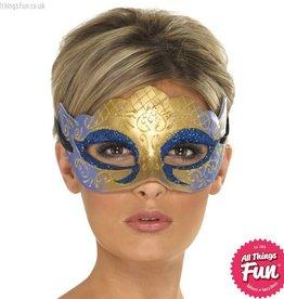 Smiffys Venetian Colombina Farfalla Gold Glitter Mask