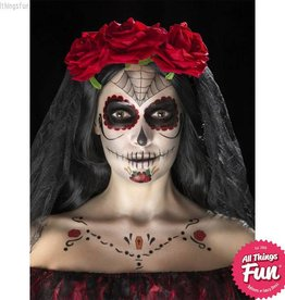 Smiffys Red & Black Day of the Dead Face Tattoo Transfers Kit