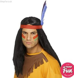 Smiffys Indian Brave Wig with Headband & Feather