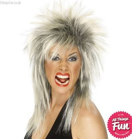 Smiffys Two Tone Blonde & Black Rock Diva Wig