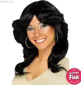 Smiffys Black 70's Flick Wig