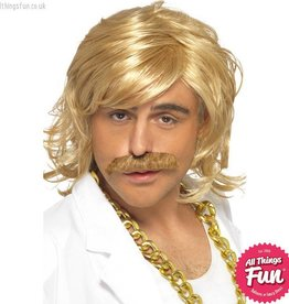 Smiffys Blonde Game Show Host Kit, Wig and Tash
