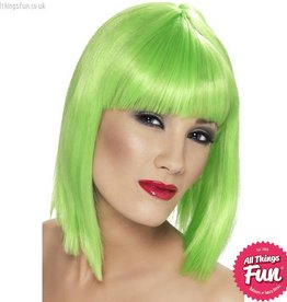 Smiffys Neon Green Glam Wig