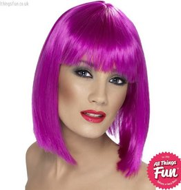 Smiffys Neon Purple Glam Wig