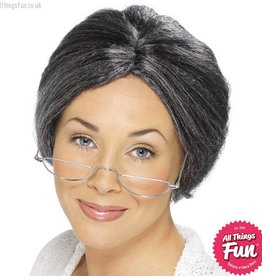Smiffys Grey Granny Bun Wig