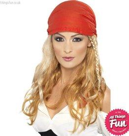 Smiffys Blonde Pirate Princess Wig with Bandana