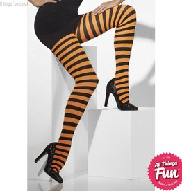 Smiffys Orange & Black Striped Opaque Tights