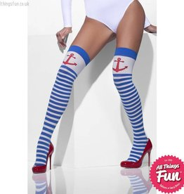 Smiffys Blue & White Striped Opaque Hold Ups with Anchors