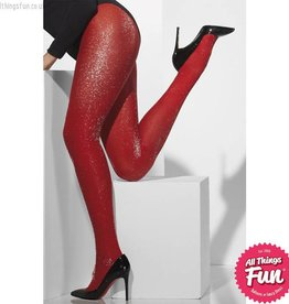 Smiffys Red Glitter Sparkle Opaque Tights