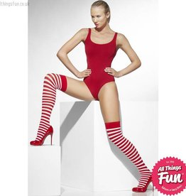Smiffys Red & White Striped Opaque Hold Ups